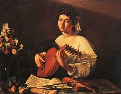 Caravaggio 「リュートを弾く若者」 (1590年頃)