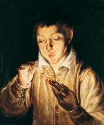 エル・グレコ 「燃え木でロウソクを灯す少年」 (1570~1572)
