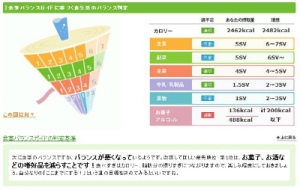 食事バランスガイドに準拠したグラフ